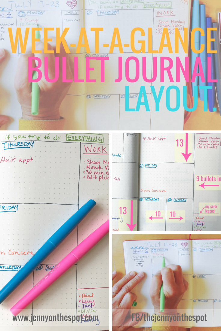 Week At-A-Glance | Bujo | Bullet Journal | Jenny On The Spot