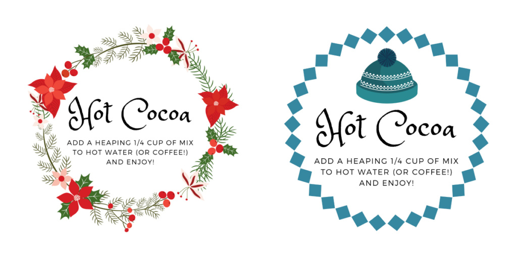 Homemade Hot Cocoa label options | jennyonthespot.com